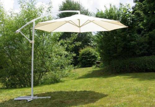 Béžový 3m zahradní slunečník s boční nohou