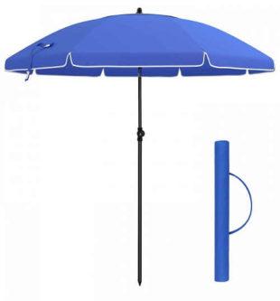 Levný modrý plážový slunečník znakem přes rameno