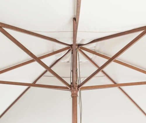 Luxusní dřevěná konstrukce zahradního slunečníku
