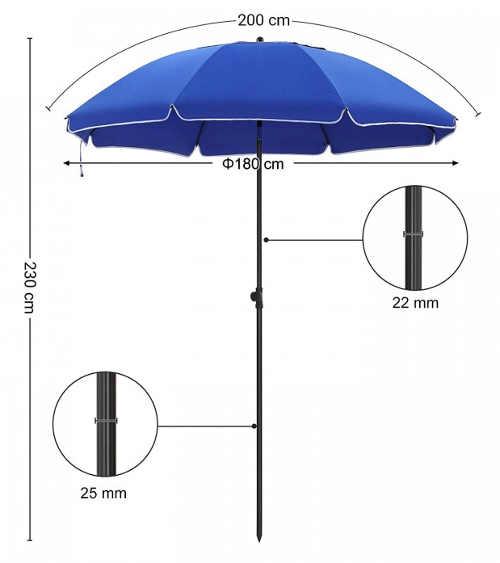 Plážový slunečník s průměrem 180 cm