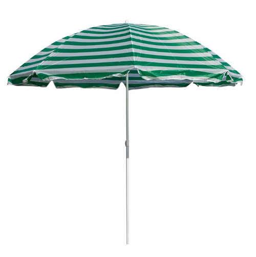 Pruhovaný zelený plážový slunečník průměr 230 cm