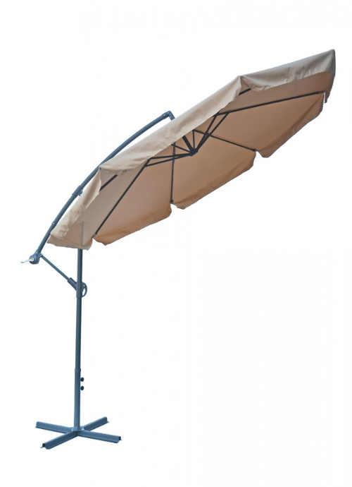 Sklopný béžový slunečník na terasu se stojanem