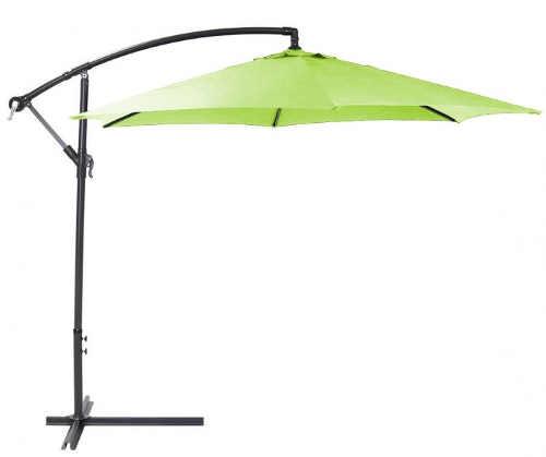 Světle zelený zahradní slunečník s boční nohou