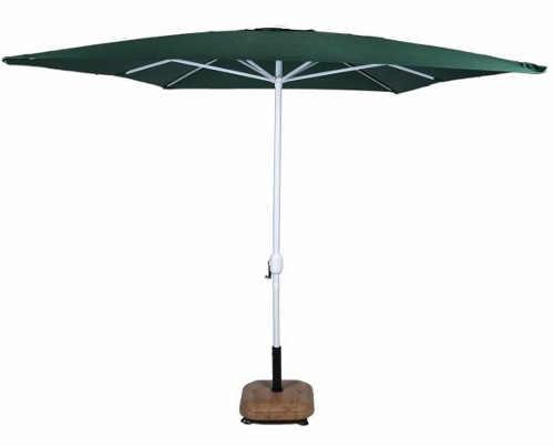 Tmavě zelený obdélníkový zahradní slunečník s kličkou