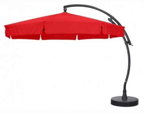 Velký červený zahradní slunečník s boční nohou