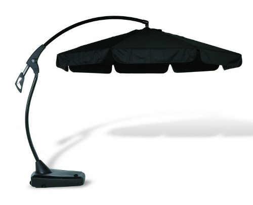 Antracitový moderní boční slunečník s podstavcem na zahradu a terasu