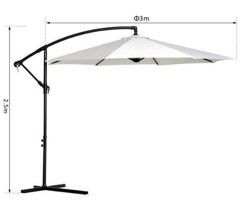 Bílý zahradní slunečník průměr 3 metry