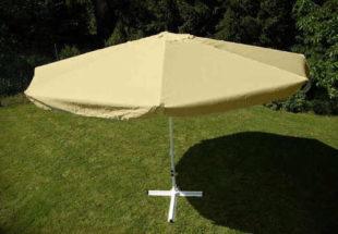 Krémový čtyřmetrový zahradní slunečník s klikou