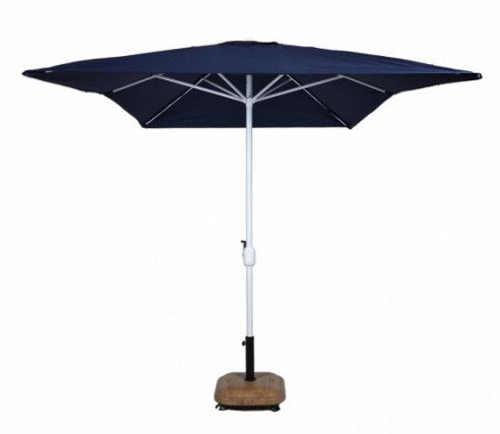 Obdélníkový terasový slunečník modré barvy