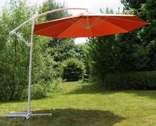Oranžový 3 m zahradní slunečník s kovovým podstavcem