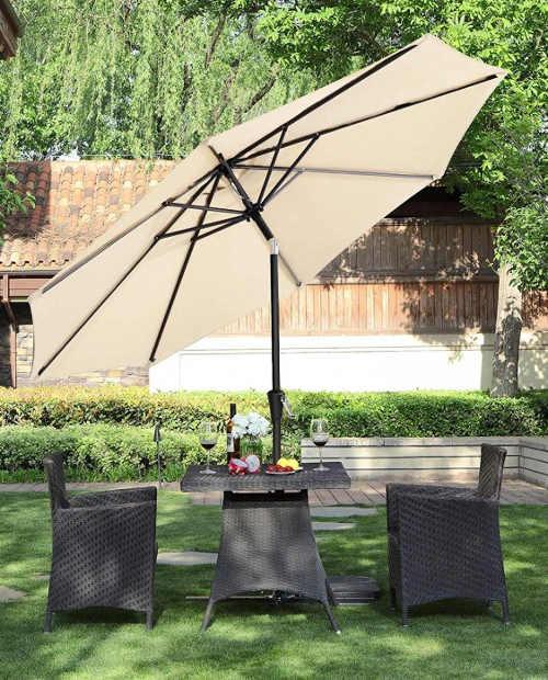 zahradní praktický slunečník béžový